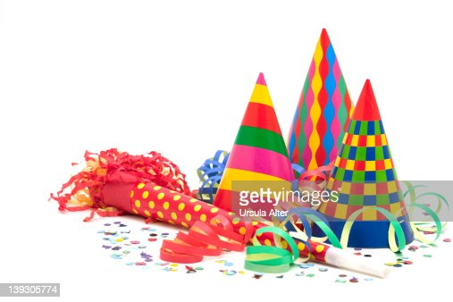 Party decorations, blower and hats : Stock Photo