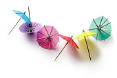 Party: Drink Umbrellas Isolated on White Background