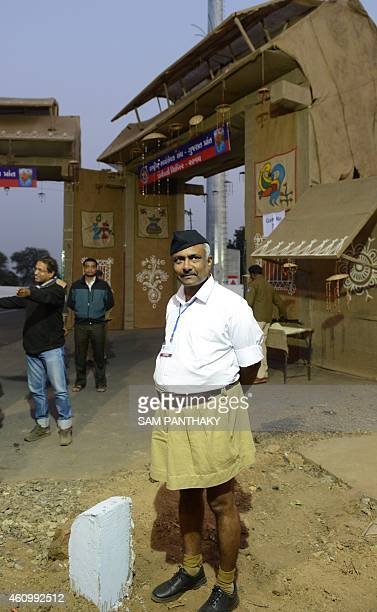 Party General Secretary and Hindi Nationalist organsiation Rashtriya Swayamsevak Sangh leader Sanjay Joshi poses on the second day of their...