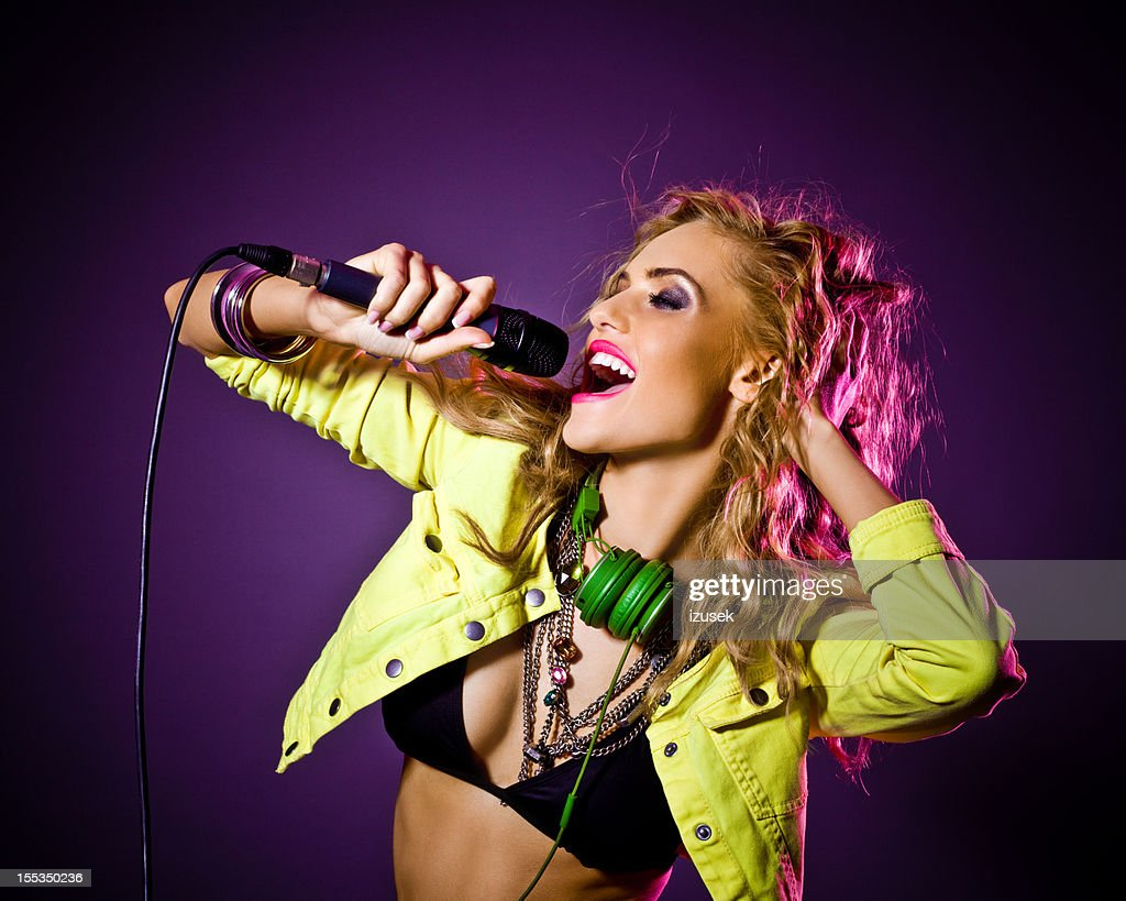 Party Girl singing : Stock Photo