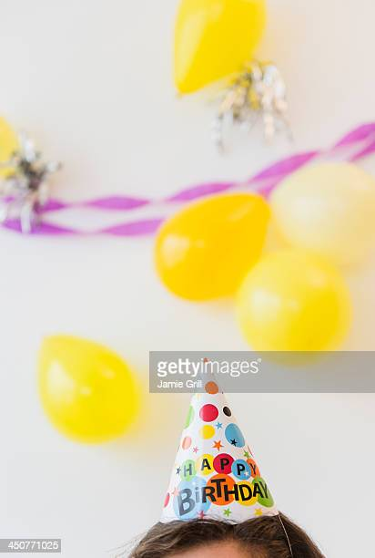 Party hat and balloons