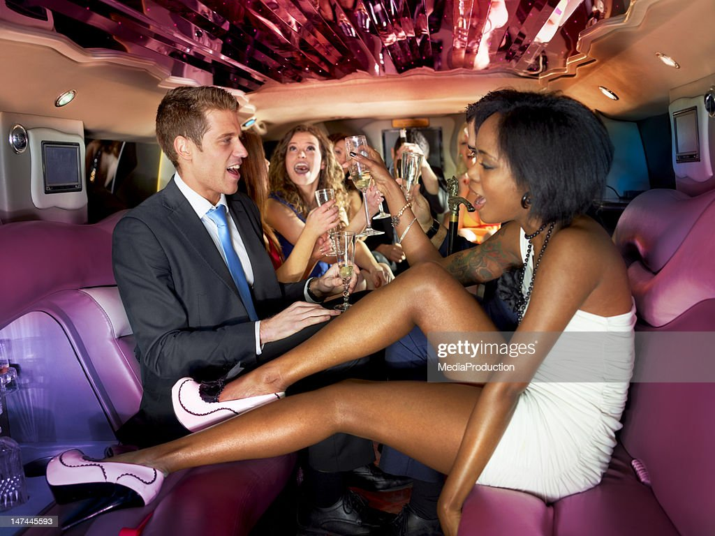 Party in a limousine : Stock Photo