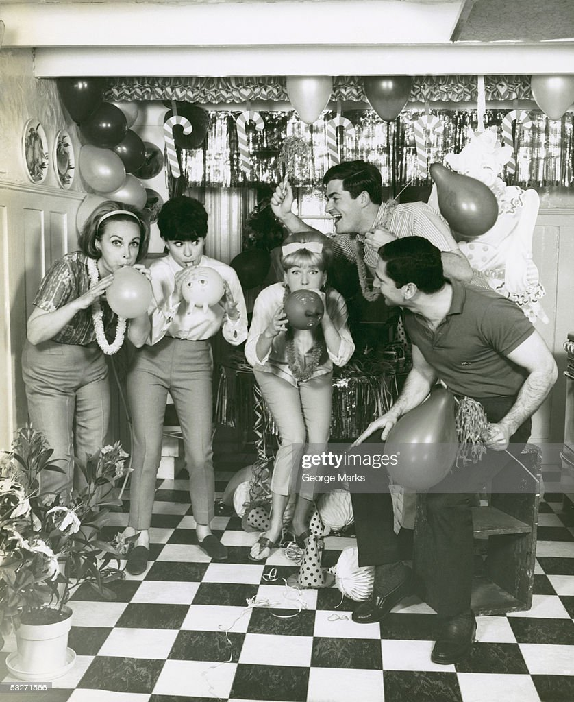 Party in decorated rumpus room : Stock Photo