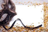 venetian mask with blank paper for your text