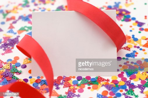 Party Invitation With Red Ribbon and Confetti.