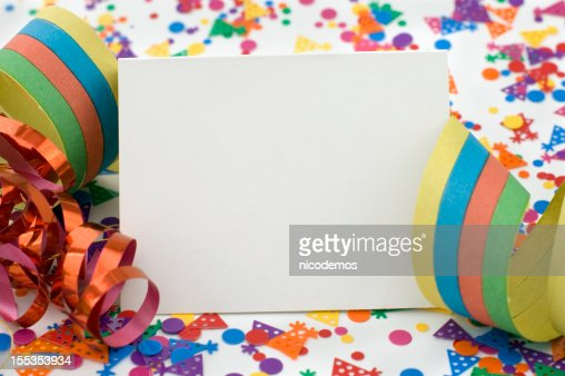 Party Invitation With Ribbon and Confetti.