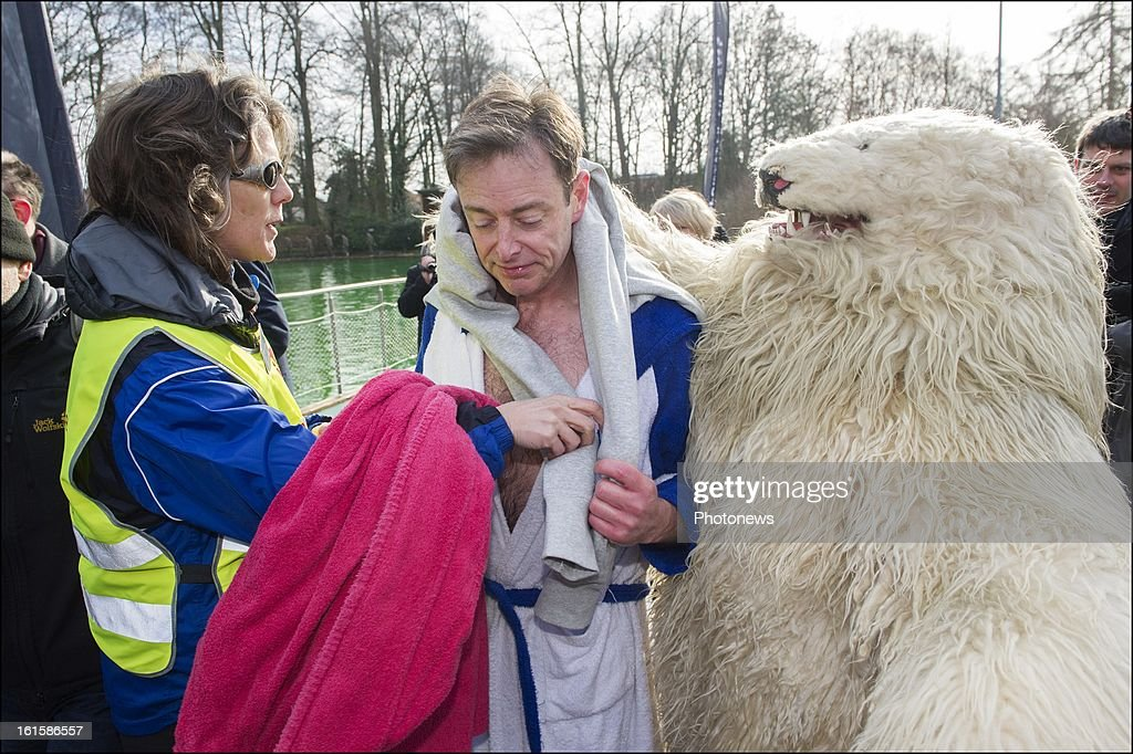 Party Leader and mayor of Antwerp Bart De Wever takes a Polar Bear dip on February 10, 2013 in Deurne, Belgium. Bart De Wever who used to weigh 142 kg has lost more than 60 kilos the last 12 months.