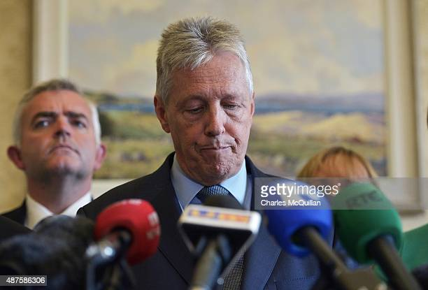 DUP party leader and Northern Ireland First Minister Peter Robinson reacts to questions as he held a press conference at Stormont on September 10...