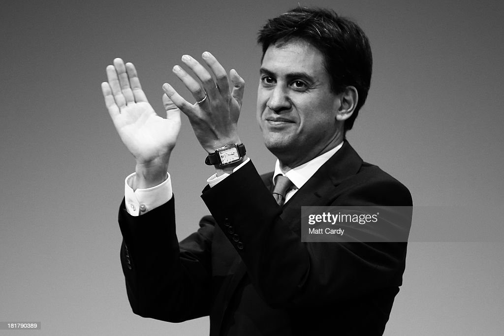 Party leader Ed Miliband applauds a speaker at the Labour Party conference on September 25, 2013 in Brighton, England. Party leader Ed Miliband will take part in a question and answer session later on the last day of conference.