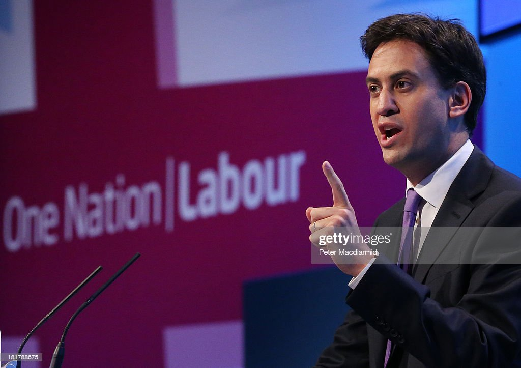 Party leader <a gi-track='captionPersonalityLinkClicked' href=/galleries/search?phrase=Ed+Miliband&family=editorial&specificpeople=4376337 ng-click='$event.stopPropagation()'>Ed Miliband</a> gestures during a question and answer session at the Labour Party conference on September 25, 2013 in Brighton, England. The four day conference was brought to a close with delegates singing the traditional Red Flag song.