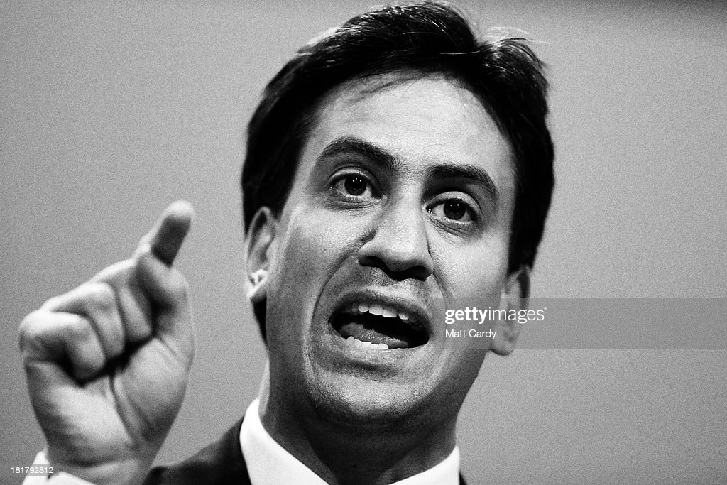 Party leader Ed Miliband gestures during a question and answer session at the Labour Party conference on September 25, 2013 in Brighton, England. Today was the last day of opposition Labour Party's annual conference in the southern English coastal town.