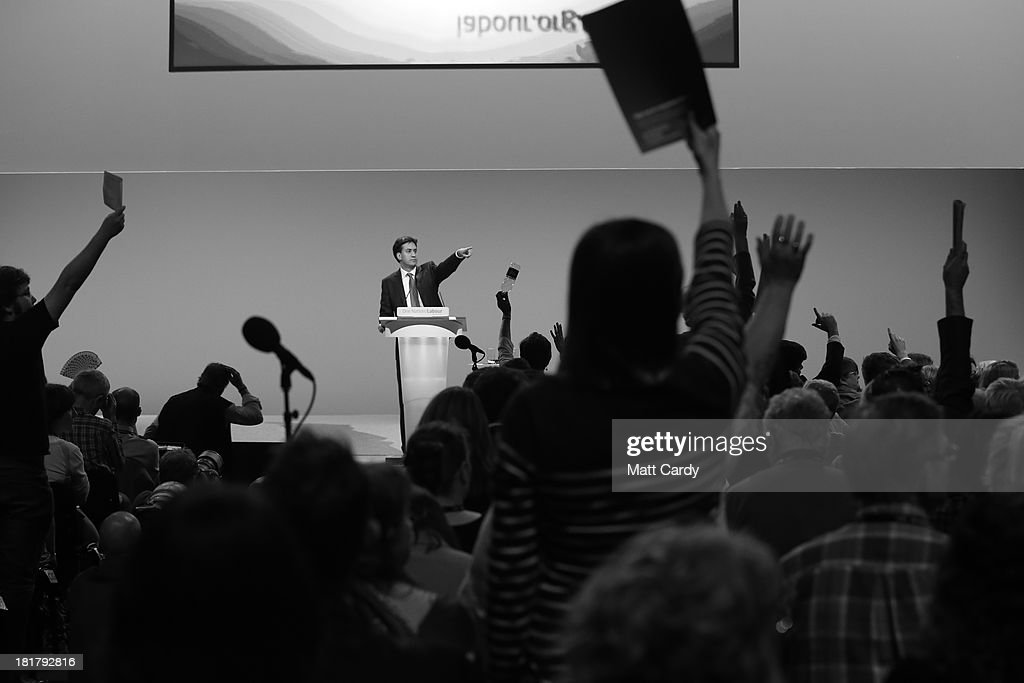 Party leader Ed Miliband points during a question and answer session at the Labour Party conference on September 25, 2013 in Brighton, England. Today was the last day of opposition Labour Party's annual conference in the southern English coastal town.