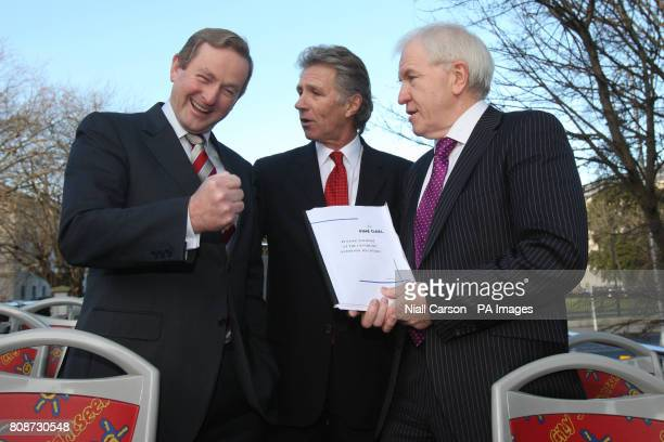 Party leader Enda Kenny Eamonn Coghlan and TD Jimmy Deenihan launch Fine Gael's tourism strategy on top of a sightseeing tour bus in Merrion Square...