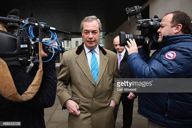 UKIP party leader Nigel Farage leaves Broadcasting House after an interview on the BBC's Today Programme on radio 4 on April 2 2015 in London England...