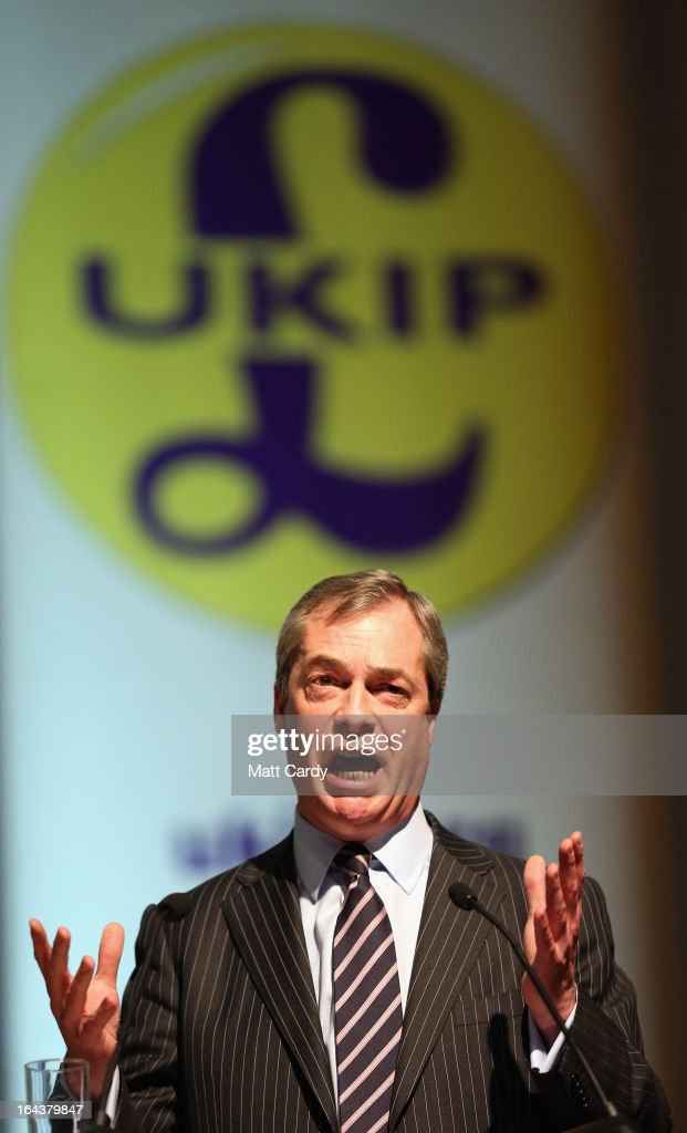 UKIP party leader <a gi-track='captionPersonalityLinkClicked' href=/galleries/search?phrase=Nigel+Farage&family=editorial&specificpeople=697991 ng-click='$event.stopPropagation()'>Nigel Farage</a> makes his keynote speech to the UKIP 2013 Spring Conference being held in the Great Hall of Exeter University on March 23, 2013 in Exeter, England. Buoyed by recent successes including the by election in Eastleigh where they came second, the party is claiming it is the only one with alternative policies and a vote for UKIP is no longer just a protest vote.