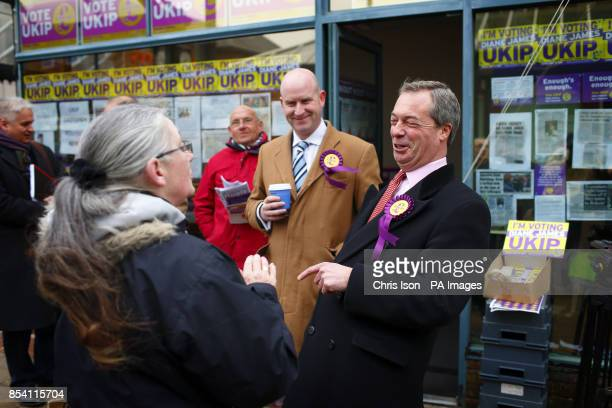 UKIP party leader Nigel Farage on the hustings in Eastleigh Hampshire where a byelection will be held tomorrow following the resignation of Chris...