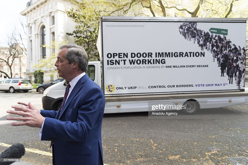 UKIP party leader Nigel Farage unveils the final UKIP party election campaign poster for London Elections focussing on immigration in London, United Kingdom on May 03, 2016.