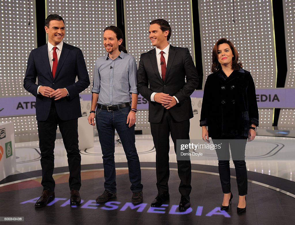 ¿Cuánto mide Pablo Iglesias? - Altura Party-leaders-pedro-sanchez-of-the-psoe-socialist-party-pablo-of-picture-id500343438