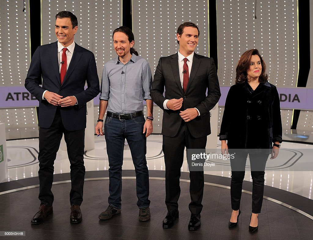 Party leaders Pedro Sanchez of the PSOE Socialist party, Pablo Iglesias of Podemos, Albert Rivera of Ciudadanos and Vice-President Soraya Saenz de Santamaria of the ruling Popular Party pose for photographers before the start their television debate at Atresmedia studios on December 7, 2015 in Madrid, Spain. Spain goes to the polls on December 20, 2015 in general elections to elect 350 members of parliament and 208 senators.