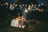 A photo of table and lights ready for party