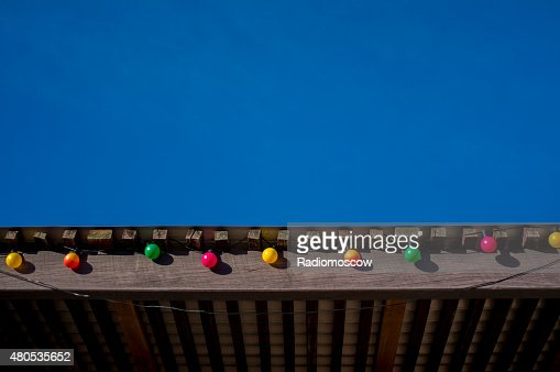 party lights with bright blue sky : Stock Photo