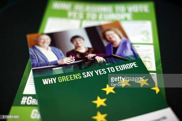 Party literature is displayed at the launch of the Green Party's EU campaign on March 14 2016 in London England The Green Party today announced their...
