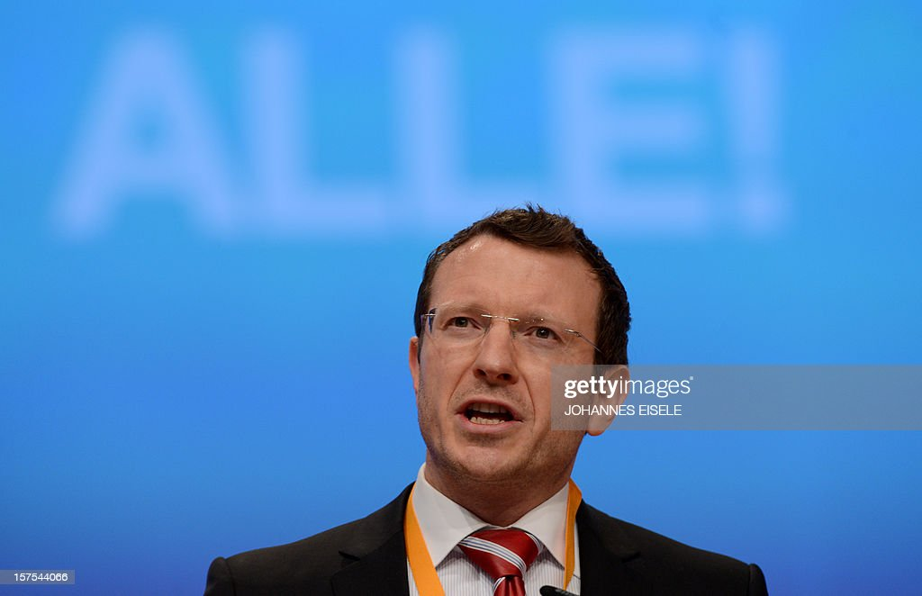 CDU party member Jan-Marco Luczak speaks during a congress of Germany's ruling conservative Christian Democratic Union (CDU) party on December 4, 2012 in Hanover, central Germany. German Chancellor Angela Merkel was re-elected head of her conservative Christian Democrats (CDU) by more than 97 percent of delegates' votes at a two-day party congress. It was Merkel's best result since she took over as chairman of the CDU in 2000 and comes as she gears up for fighting for a third term at the helm of Europe's top economy in elections expected in September 2013.