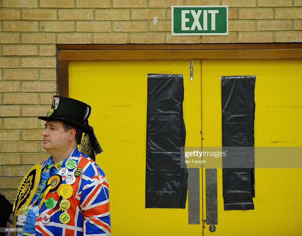 Party members from the Official Monster Raving Loony Party attend the count to determine the winner of the byelection on May 2, 2013 in South Shields, England. The byelection was triggered after the former Foreign Secretary David Miliband announced recently that he was resigning from the House of Commons in order to leave Britain and head up the New York based International Rescue Committee humanitarian organisation.