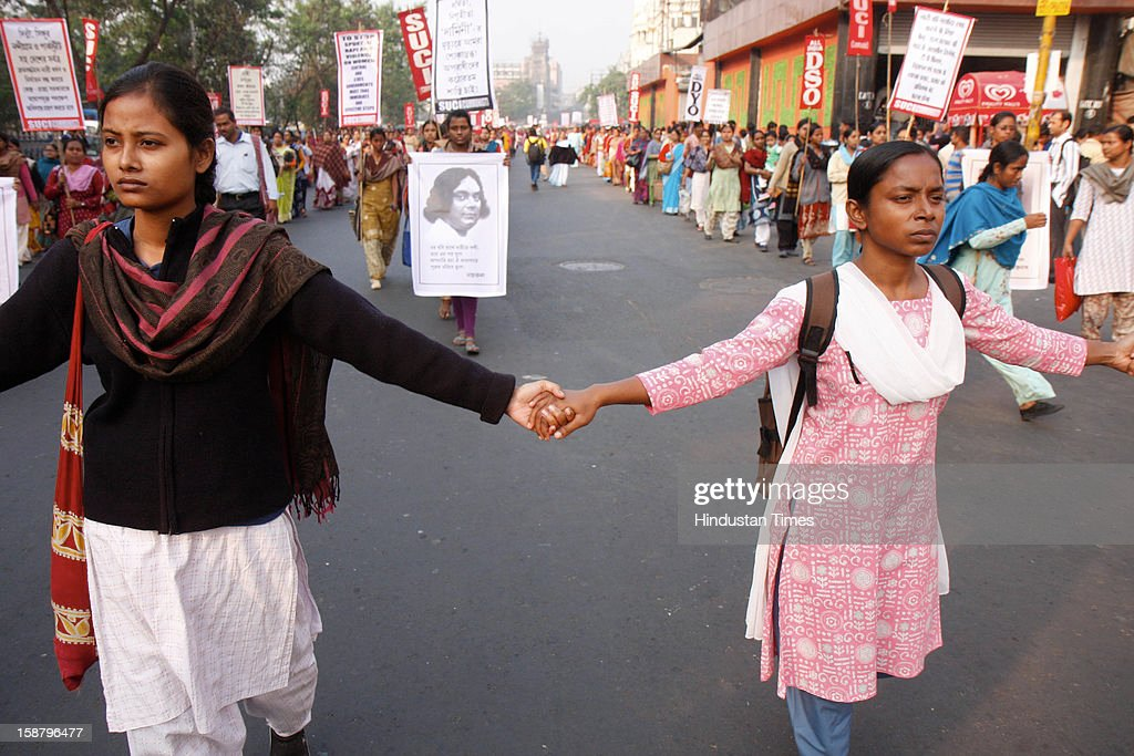 SUCI party members protest after the death of Delhi rape victim, on December 29, 2012 in Kolkata, India. The girl died of injuries in Singapore hospital after brutally gang raped in a moving bus on December 16, in Delhi.