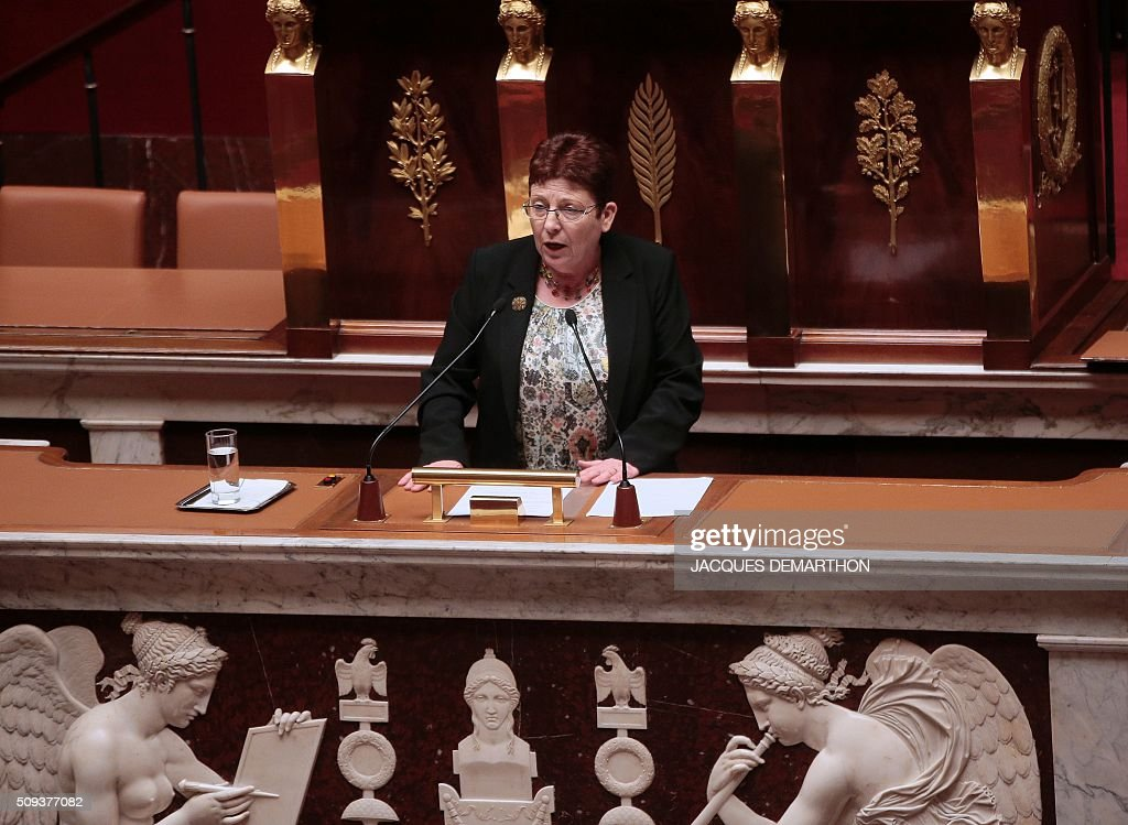party MP Brigitte Allain delivers political guidelines ('Explications de vote') before a vote on the draft-law on 'protection of the Nation' at the National Assembly in Paris on February 10, 2016. French lawmakers were to vote on February 10 on a controversial package of measures to change the constitution following the terror attacks on Paris in November. / AFP / JACQUES DEMARTHON