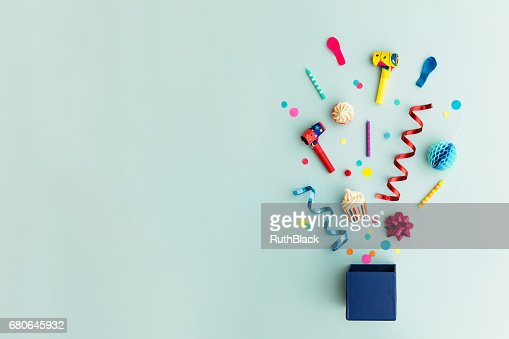 Party objects in a gift box : Foto stock