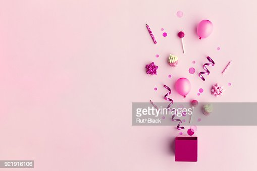 Party objects in a gift box : Stock Photo