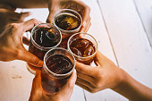 people drinking soft drink,beverage, black water,for party,meeting,with fun and happy.
