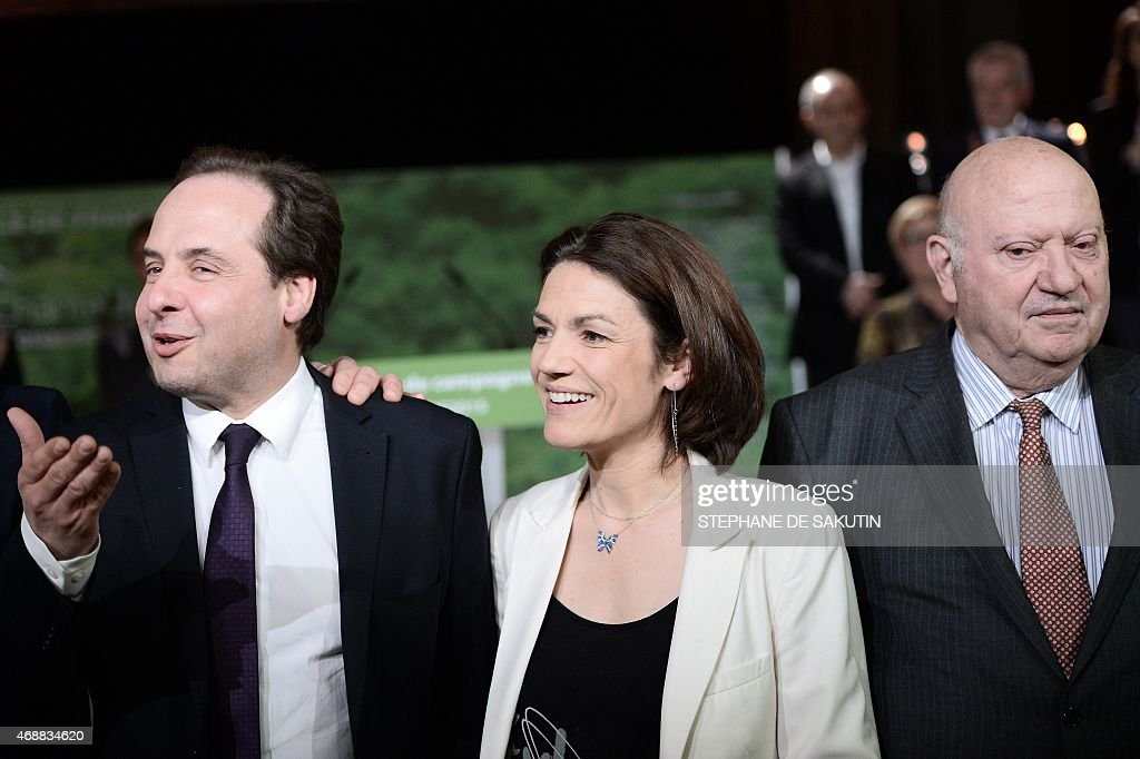 UDI party President <a gi-track='captionPersonalityLinkClicked' href=/galleries/search?phrase=Jean-Christophe+Lagarde&family=editorial&specificpeople=7499467 ng-click='$event.stopPropagation()'>Jean-Christophe Lagarde</a> (L), French Senator <a gi-track='captionPersonalityLinkClicked' href=/galleries/search?phrase=Chantal+Jouanno&family=editorial&specificpeople=5673060 ng-click='$event.stopPropagation()'>Chantal Jouanno</a>, candidate of the centre-right UDI party, and Issy-les-Moulineaux Mayor and member of Parliament <a gi-track='captionPersonalityLinkClicked' href=/galleries/search?phrase=Andre+Santini&family=editorial&specificpeople=2479567 ng-click='$event.stopPropagation()'>Andre Santini</a> (R) attend on April 7, 2015 a campaign meeting in the southwestern Paris suburb of Issy-les-Moulineaux for the upcoming regional elections in the Ile-de-France region.