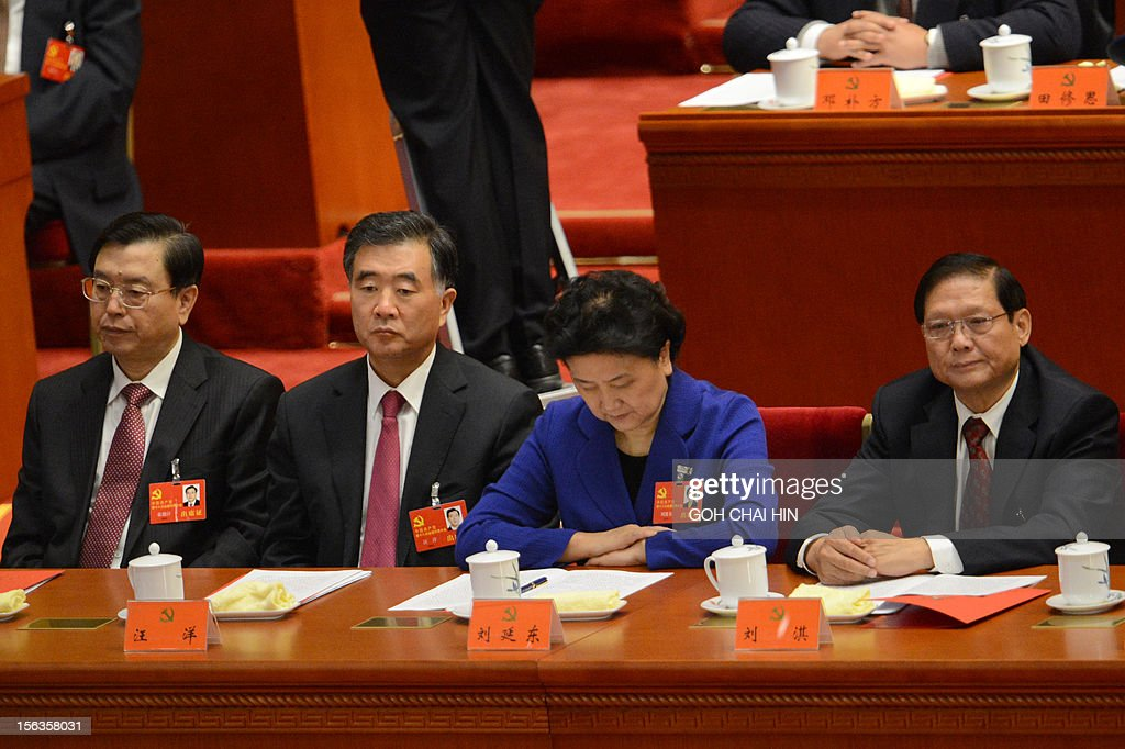CPC Party secretary of Chongqing, Zhang Dejiang, Party secretary of Guangdong, Wang Yang, Chinese highest ranking woman politician Liu Yandong and former Party secretary of Beijing, Liu Qi present at the closing of the18th Communist Party Congress at the Great Hall of the People in Beijing on 14 November 2012. The week-long Communist Party Congress will end with a transition of power to Chinese Vice President Xi Jinping, who will govern for the coming decade amid growing pressure for reform of the communist regime's iron-clad grip on power.