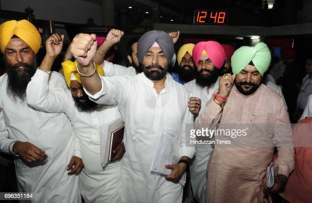 AAP party senior leaders protesting outside Punjab Vidhan Sabha Session on June 15 2017 in Chandigarh India