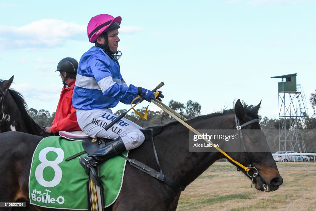 Party Spin ridden by Bradley Vale returns to scale after winning the Mildura Racing Club BM58 Handicap at Mildura Racecourse on July 17, 2017 in Mildura, Australia.