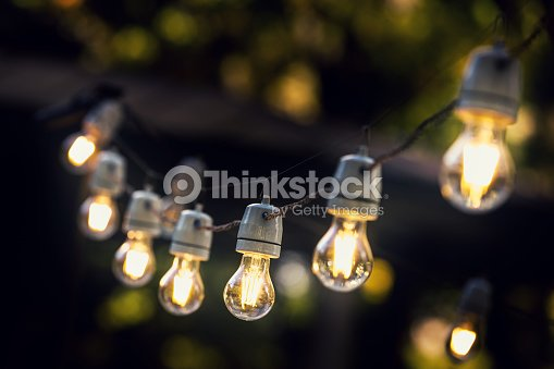 party string lights hanging in a line ストックフォト thinkstock