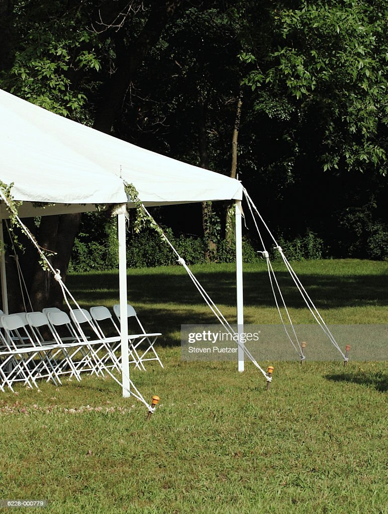 Party Tent on Lawn : Stock Photo