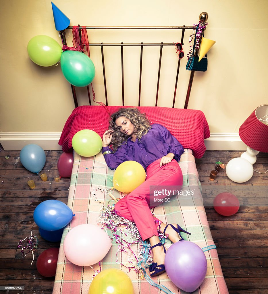 Party with Beautiful Blond Girl in Bed : Stock Photo