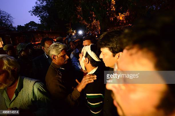 BJP party worker Injured as Aam Aadmi Party protest outside of BJP office on March 5 2014 in New Delhi India