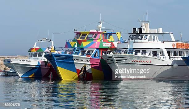 Partyboats at the harbor of Ayia Napa on May 22 2013 in Ayia Napya Cyprus