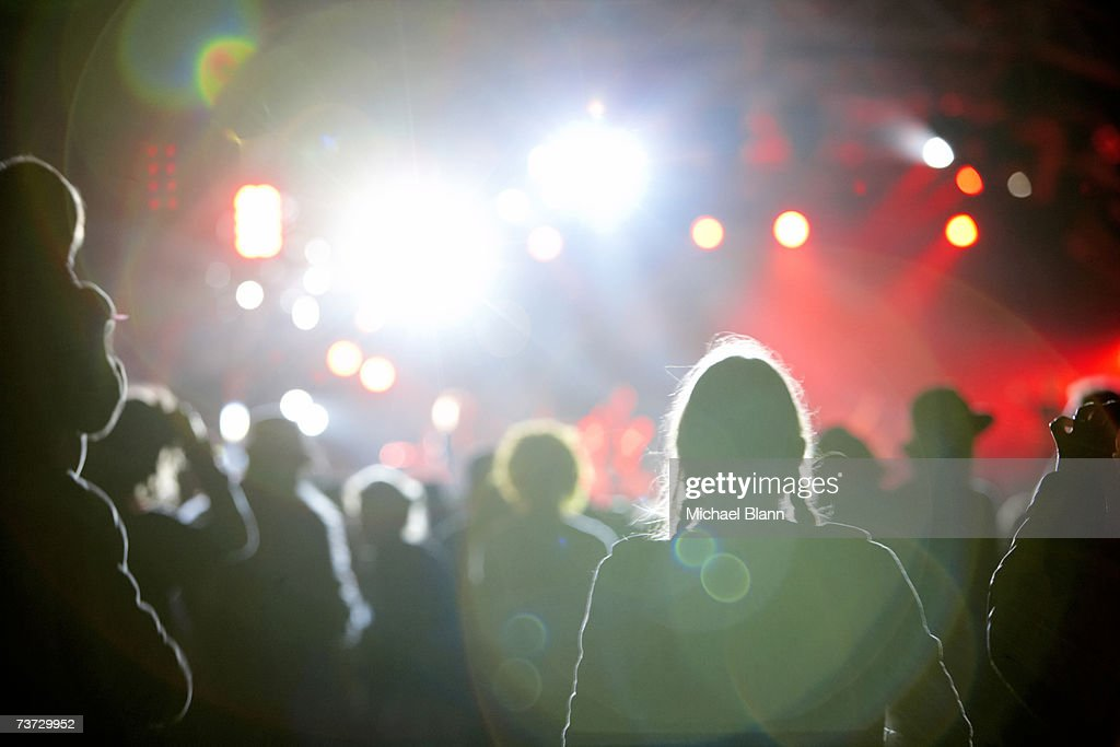 'Partygoers at nightclub, rear view' : Stock Photo