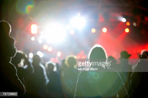 'Partygoers at nightclub, rear view'