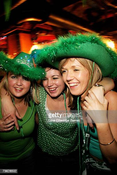 Partygoers celebrate St Patrick's Day at the 'Lillie's on Tour' party to at Lillie's Bordello at the Porterhouse in Covent Garden on March 18 2007 in...
