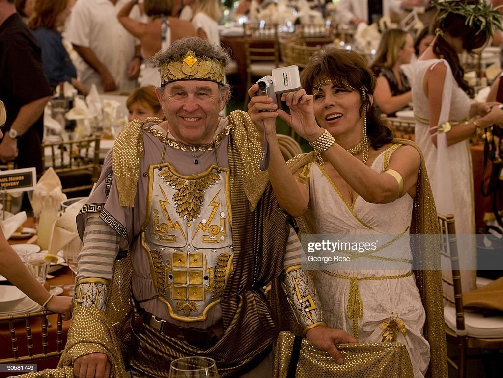 Partygoers dressed in Roman costume and togas attend the 17th Annual Sonoma Valley Harvest Wine Auction as seen in this 2009 Sonoma California summer...