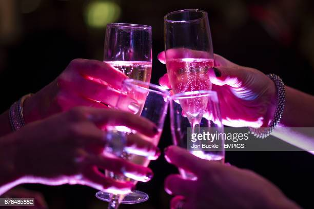 Partygoers enjoy a Champaigne toast at Epsom Downs during the New Years Eve Party