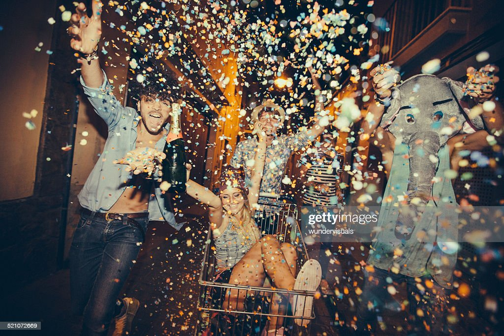 Partying Teenagers Being Silly In Street : Stock Photo