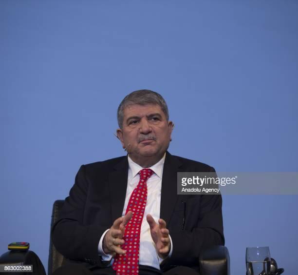 Party's Bursa deputy Cemalettin Kani Torun makes a speech during the 'Humanitarian Aid' panel within TRT World Forum in Istanbul Turkey on October 19...