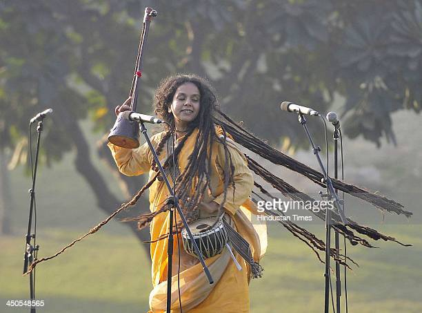 Parvathy Baul singer painter and storyteller from West Bengal performing on the occasion of Indira Gandhi's 96th birth anniversary at Shakti Sthal on...